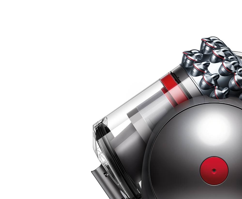 The Dyson Cinetic Big Ball vacuum, viewed from the side, cut away to reveal Dyson Cinetic™ tips