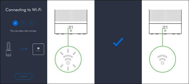 Connect your purifier to your home Wi-Fi network and to Dyson